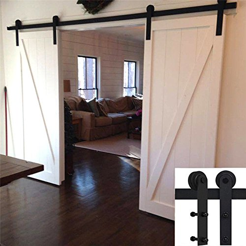 SMOOTHCLUE 13 FT Qualitative Carbon Steel Sliding Barn Door Hardware (Black) (I Shape Hangers)(2 x 6.6 foot Rail) by SMOOTHCLUE