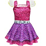 Girls Ballet Design Ballerina Style Printed Halloween Dress Cosplay Party Christmas Costumes Doll Surprise (Purple, 140/6-7Y(5))