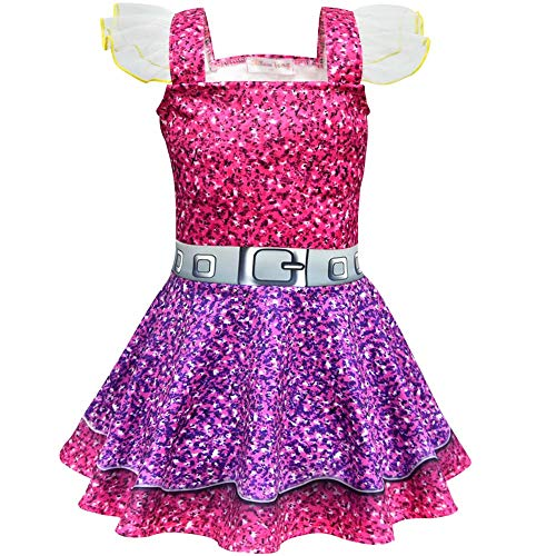 Girls Ballet Design Ballerina Style Printed Halloween Dress Cosplay Party Christmas Costumes Doll Surprise (Purple, 120/4-5Y(4T))