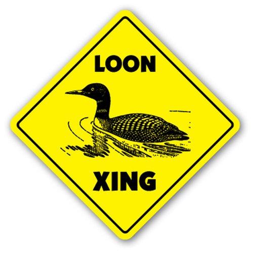 LOON CROSSING Sign xing gift novelty aquatic birds diving bird Wall Plaque Decoration SignJoker