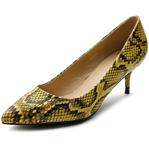 Color Shoe Yellow Snakeskin Ollio Women's Toe Multi D'Orsay Pointed Pump CHO0w7qx