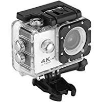 Wireless Ultra HD 4K Aerial DV FHD 2 1080P WIFI Sports Camera IPX8 30 m/98.4ft Waterproof Sports Camcorder 170 Degree Wide Angle Lens Support TF Card Max 32G for Android IOS System(White)