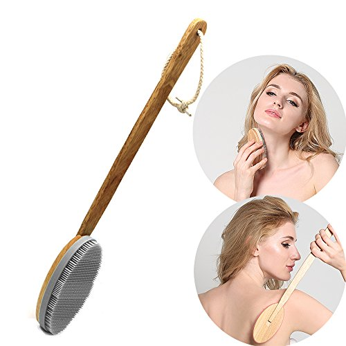 INNERNEED Wooden Shower Brush, Back Scrubber Silicone Body Exfoliating Scrubber with Long Handle, Especially for Sensitive, Dry Skin (Gray)