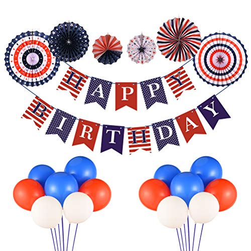 Triwol Boy Birthday Decorations for 1st 2nd 13th 16th 18th Birthday, Classic USA Red and Blue Theme Bday Party Decor Include Happy Birthday Banner/Paper Fans Set / 30pcs Latex Balloons -