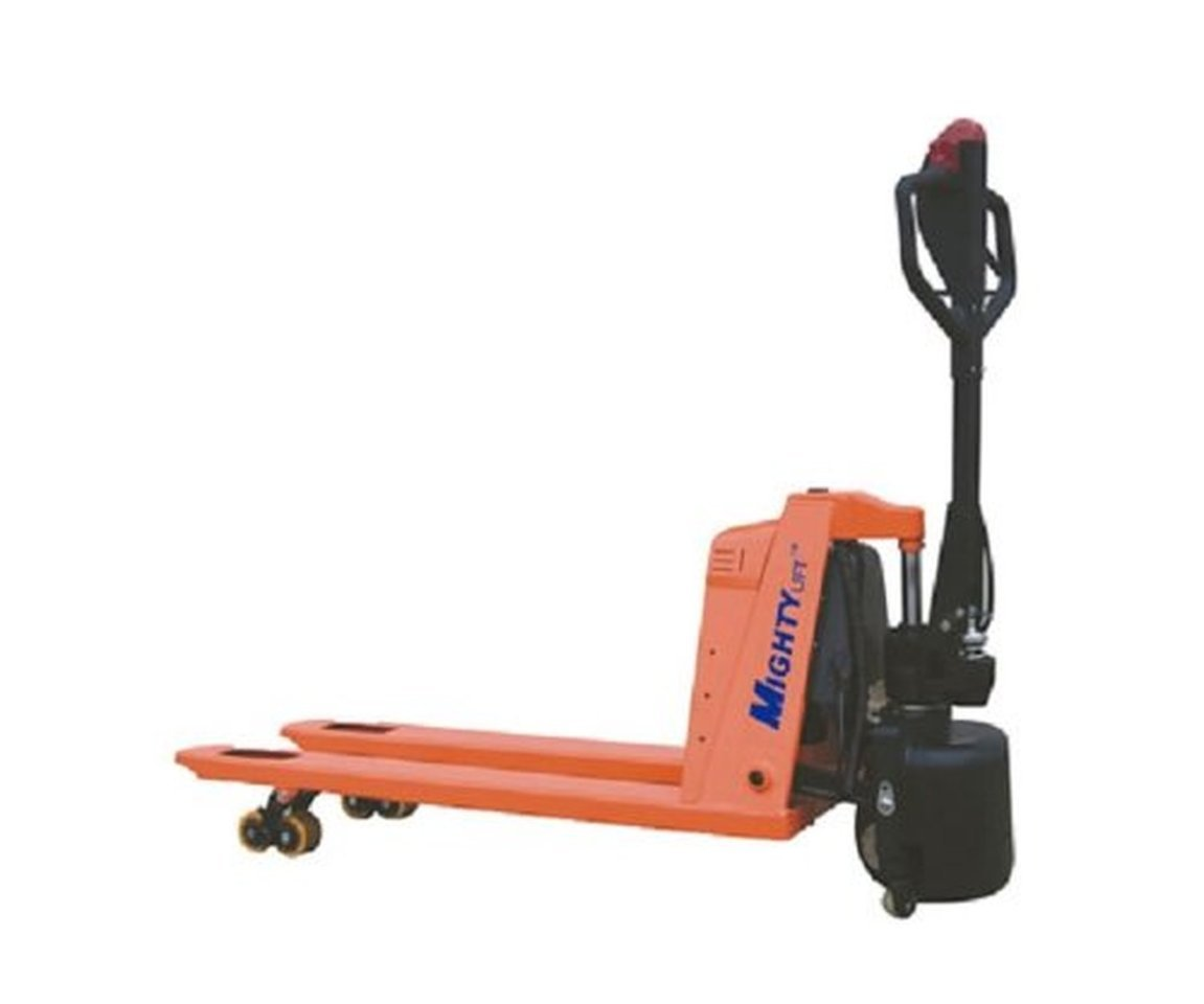 Mighty Lift Semi-Electric 3300# Cap Pallet Jack Manual Lift, Power Drive 28-1/2'' W x 45'' L forks Battery Operated