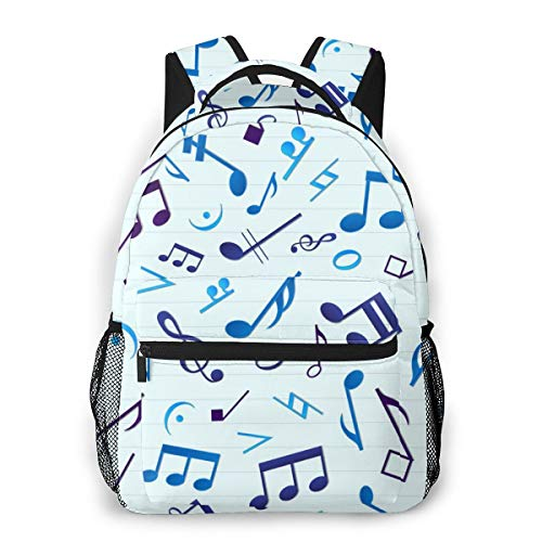 Music Musical Notes Rucksacks, Large Capacity Carry On Bag Traveling & Camping Backpack, Casual College School Daypack Gym Outdoor Hiking Bag Laptop Backpack Daypack
