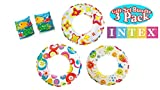 3 Intex 20' Swim Rings, Includes all 3 designs! Cute Starfish,Circles & Fish Bonus 1 pair Floatie Arm Bands - Kids Pool...