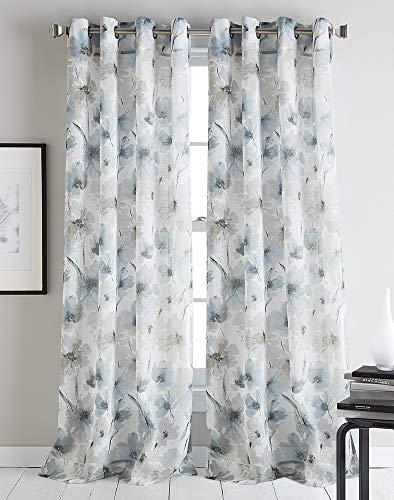 DKNY Modern Bloom Sheer Grommet Window Curtain Single Panel