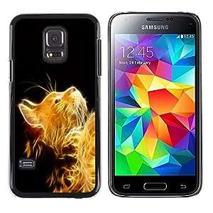 Stuss Case / Funda Carcasa protectora - Cat Fire Ginger Yellow Furry Magic Mythical - Samsung Galaxy S5 Mini, SM-G800, NOT S5 REGULAR!