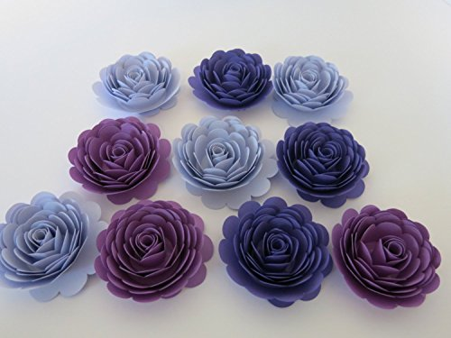 Purple Ombre Roses Set of 10, Handmade Paper Flowers, Shades of Purple 3