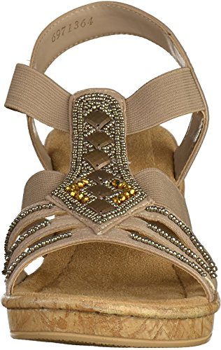 Rieker 69713-64 Sandalias fashion de cuero mujer Beige
