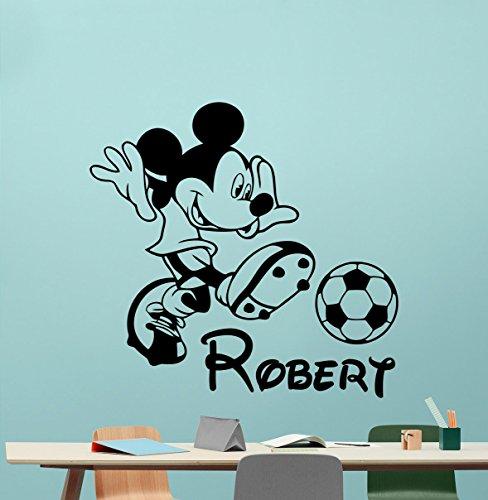 Personalized Mickey Mouse Wall Decal Boy Sport Soccer Football Ball Custom Name Walt Disney Cartoons Vinyl Sticker Baby Girl Boy Customized Kids Room Wall Art Bedroom Nursery Wall Decor Mural 113crt