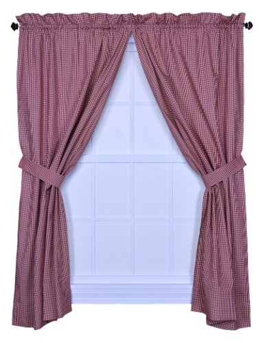 Curtain Panels Red Gingham (Logan Gingham Check Print 68-Inch by 84-Inch TailoDeep red Panel Pair with Tiebacks, Deep red)