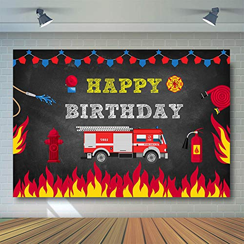 COMOPHOTO Firetruck Birthday Party Backdrop Fireman Fire Truck Firefighter Photography Background Boy Birthday Decorations Photo Banner Photo Booth Backdrops for Pictures]()