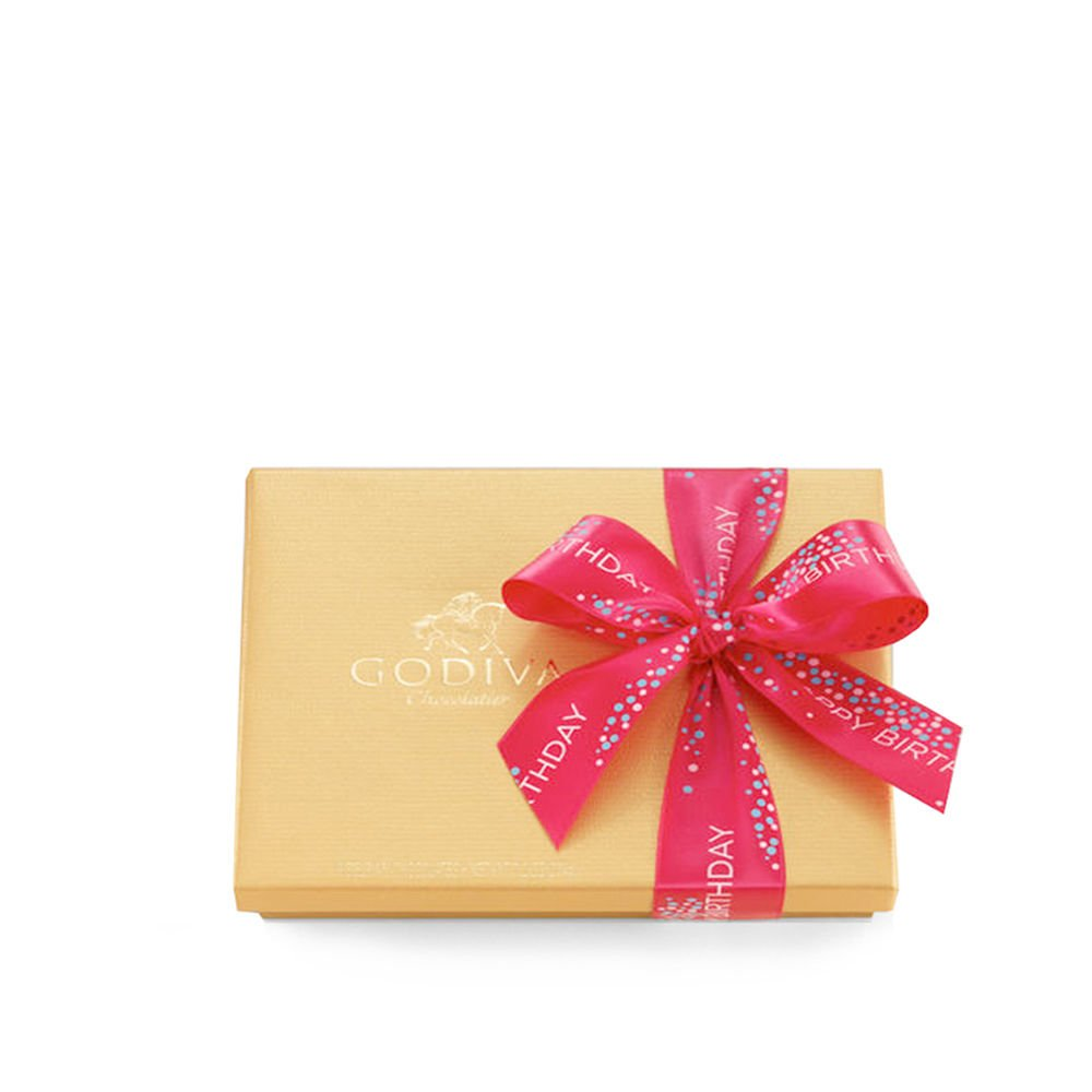 Godiva Chocolatier Gold Ballotin Candy, Happy Birthday, 19 Count