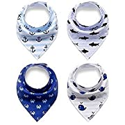 Unisex Baby Bandana Drool Bibs - 4 Pack Baby Bib Gift Set - for Drooling & Teething Babies – 100 % Organic Cotton Soft and Absorbent - Hypoallergenic for Boys & Girls by Jolly Jon