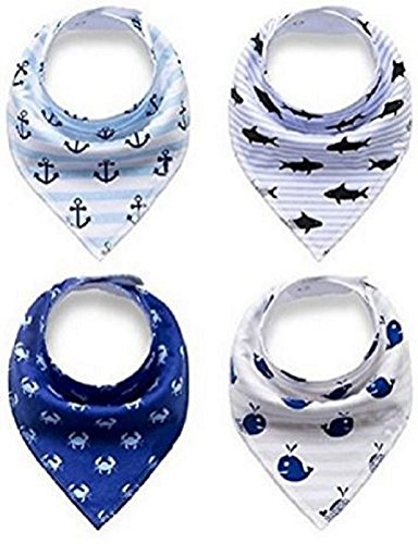 Unisex Baby Bandana Drool Bibs - 4 Pack Gift Set for Drooling & Teething – 100 % Organic Cotton Soft and Absorbent - Hypoallergenic for Boys & Girls by Jolly Jon Products