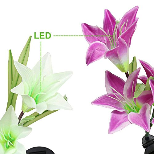 SW SAPPYWOON Outdoor Solar Flower Lights, 2 Packs Solar Garden Stake Lights with 8 Lily Flowers, Multi-Color Changing LED Solar Outdoor Garden Lights for Garden, Patio, Backyard (Purple and White) by SW SAPPYWOON (Image #3)