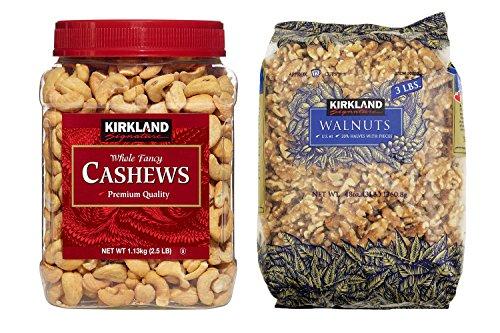 Kirkland Signature Cashews and Walnuts Bundle - Includes Kirkland Signature Whole Fancy Cashews (2.5 LB) and Walnuts (3.0 LB)