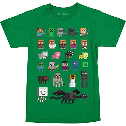 JINX Minecraft Big Boys' Sprites Premium Cotton T-Shirt (Kelly Green, Medium) -