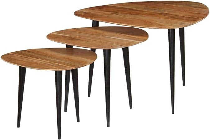 Festnight Tables gigognes Table Basse 3pcs Table de Salon Table Basse Design en Bois Massif