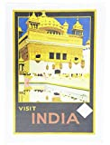 Come visit India Retro Travel Poster Large Cotton Tea Towel by Half a Donkey