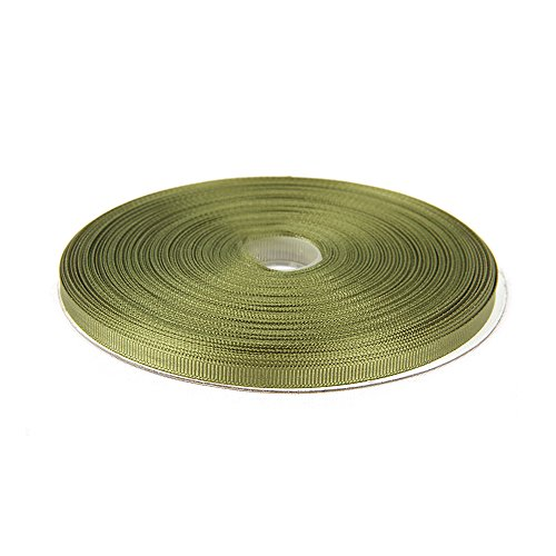 Topenca Supplies 1/4 Inches x 50 Yards Double Face Solid Grosgrain Ribbon Roll, Olive Green
