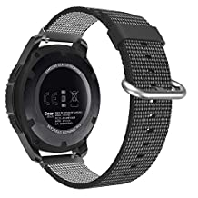 Universal 22mm Watch Band, MoKo Woven Nylon Adjustable Replacement Band Sport Strap for Amazfit/Samsung Gear S3 Frontier/S3 Classic/Moto 360 2nd Gen 46mm/Garmin Vivomove/Huawei 2 Classic, Black