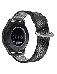 Universal 22mm Quick Release Watch Band, MoKo Nylon Adjustable Replacement Strap for Amazfit/Samsung Gear S3 Frontier/S3 Classic/Motorola Moto 360 2nd Gen 46mm/Garmin Vivomove/Huawei 2 Classic, Black