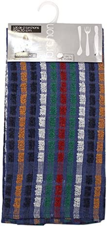 Soleil dOcre 722122 Mineur Lot de 2 Torchons Jacquard Coton Bleu 50 x 70 cm