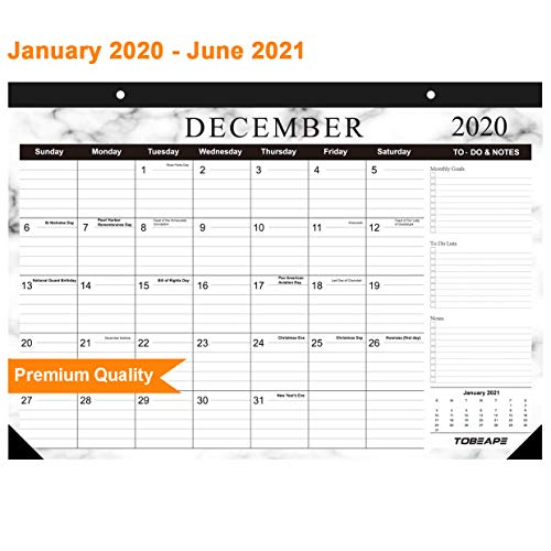 Tobeape 2020 Wall Calendar 2021 Yearly Desk Calendar, Large Monthly Calendar 17 x 12 inches Family Weekly Planner Calendar, Hanging 2-Year Runs from Now Through December 2021