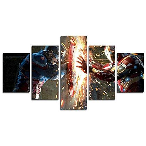 AtfArt Película de 5Pieza Capitán América Guerra Civil Pintura para salón Home Decor lona Pared Cartel (no Frame)...