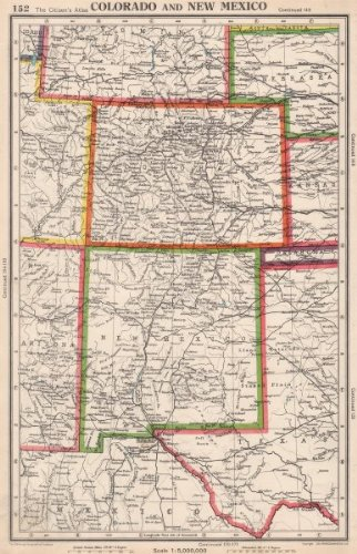 Amazoncom COLORADO AND NEW MEXICO USA state map BARTHOLOMEW