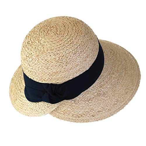 xuanchen Beach Straw Raffia Hats Big Visor Sun Hat Wide Brim for Travel Hiking Fishing Gardening Boating