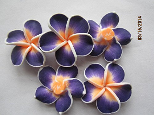 Pastel Salmon Orange Fimo Poly Clay Flower Beads for Jewelry Making, Supply for DIY Beading Projects 35mm 5pc ()