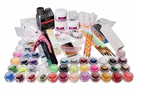 42 Acrylic Glitter Powder Nail Art Builder Tip File Brush Dotting Pen Kit Tweezer Clipper Block Set by GokuStore