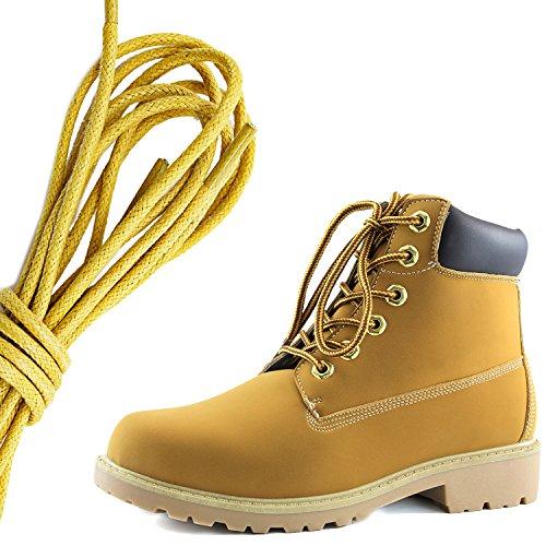 Dailyshoes Da Donna Con Allacciatura Alla Caviglia, Collo Alto Imbottito Da Lavoro, Stivali Con Punta Dura, Giallo Tan Nero Pu