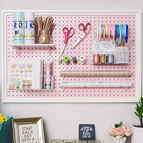 "Pegboard Organizer - Craft Peg Board| Nursery Storage| Wall Organizer and More| Fits Most 1/4"" and 1/8"" Pegboard Accessories (Blush Pink/White)"