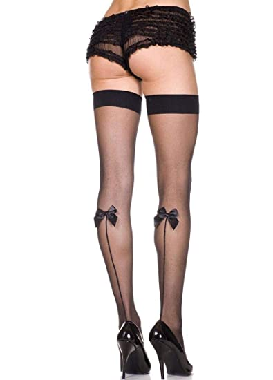 bef0ae4f47d Amazon.com  Music Legs Sheer Thigh High with Back Bow Black One Size Fits  Most  Adult Exotic Hosiery  Clothing