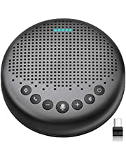 Bluetooth Speakerphone – eMeet Luna New AI Noise Redaction Algorithm Featured, Daisy Chain, USB Conference Speaker Phone w/Dongle for Home Office, 360° Voice Pickup for up to 8 People