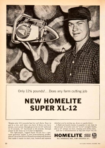 1964 Ad Homelite Chain Saw Farming Cutting Port Chester New York Textron Oregon   Original Print Ad