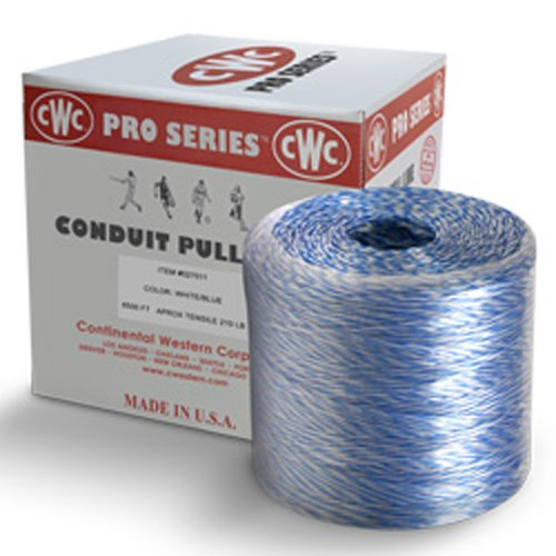 CWC Conduit Pull Line / Blow Line / Pulling String - 6500'', 210 lbs Tensile, Blue & White (Pack of 4 rolls)