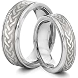 His & Her's 8MM/6MM Tungsten Carbide Silver Celtic Knot Wedding Band Ring Set (Available Sizes H - Z+2) EMAIL US WITH YOUR SIZES