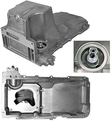 APDTY 375246 Engine Oil Pan Aluminum Assembly w/Drain Plug Fits 4.8L 5.3L 6.0L Escalade Avalanche Silverado Tahoe Express Van Denali Sierra Savana Yukon Hummer H2 (Replaces 12579273, 11562588, GMP53A) (Oil Engine Pan)