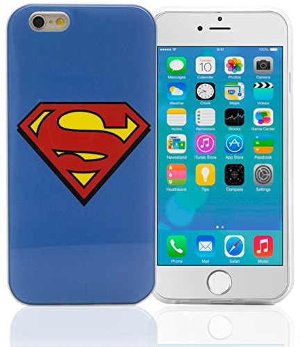Phonix DC Comics original Superman Logo Case mit Displayschutzfolie für Apple iPhone 6