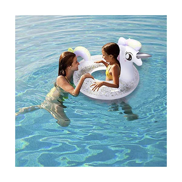 ToyerBee Pool Floats, 45' x 32' x 30', Inflatable Unicorn Tube with Glitters, Swimming Pool Tube, Raft Decorations for… 7