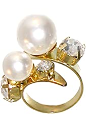 Imitation Pearl Wrap Ring with Rhinestones