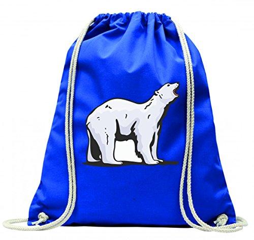 Turnbeutel Eisbär weißer Bär Antarktis Kälte Bärenfamilie Rudel mit Kordel - 100% Baumwolle- Gymbag- Rucksack- Sportbeutel Blau