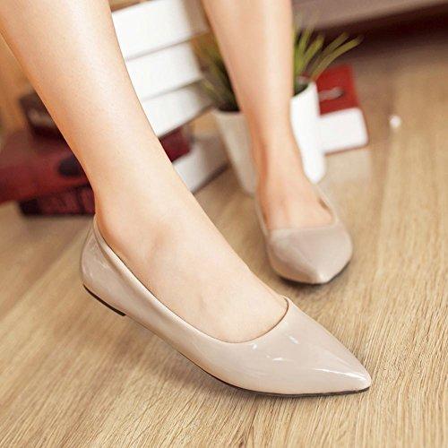 Mee Shoes Damen flach spitz Lackleder Pumps Aprikose
