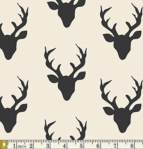 Buck Forest Night - Hello Bear - Art Gallery Fabric - Bonnie Christine - HBR-5434 Deer Head Antlers Silhouette Silo Black White (Half yard) ()